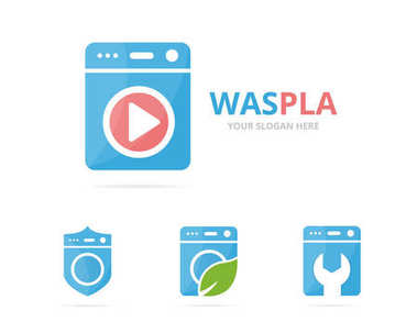 Set of laundry logo combination. Washing machine and record symbol or icon. Unique washer and audio, video logotype design template.