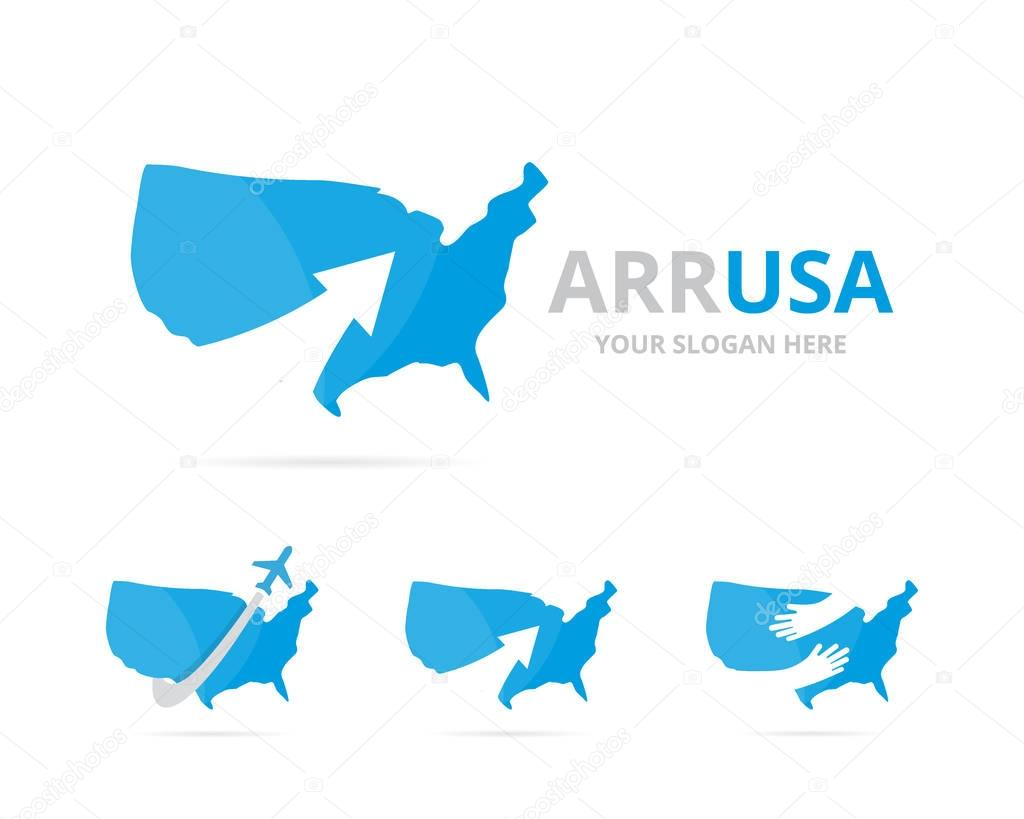 Set of usa logo combination. America and growth symbol or icon. Unique united state and upload logotype design template.