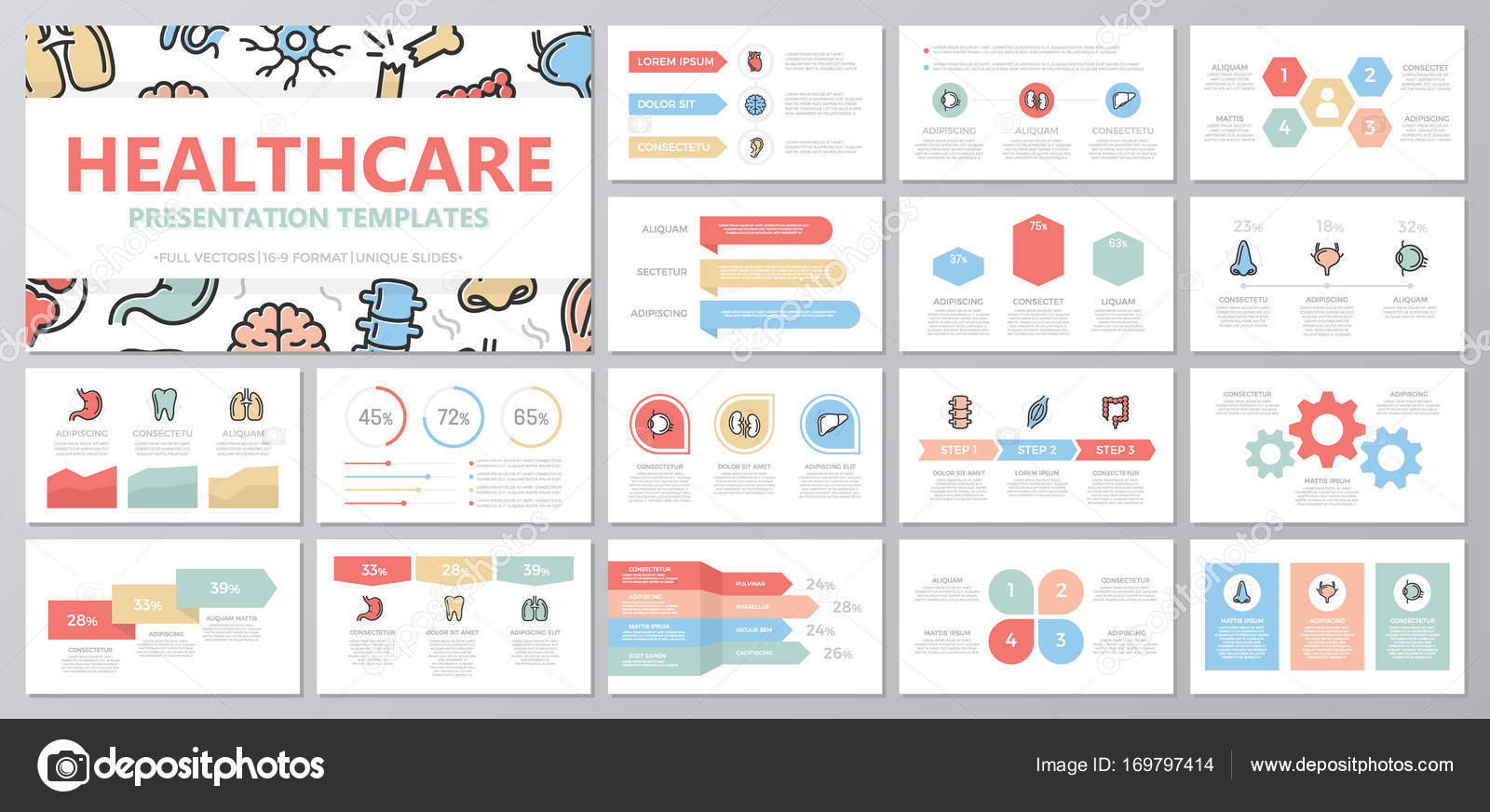 set of medical and healthcare elements for multipurpose presentation