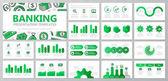 Sada prvků banku a peníze pro víceúčelové prezentační šablony snímky s grafy a tabulky. Leták, firemní zprávy, marketing, reklama, výroční zpráva, kniha obalový design