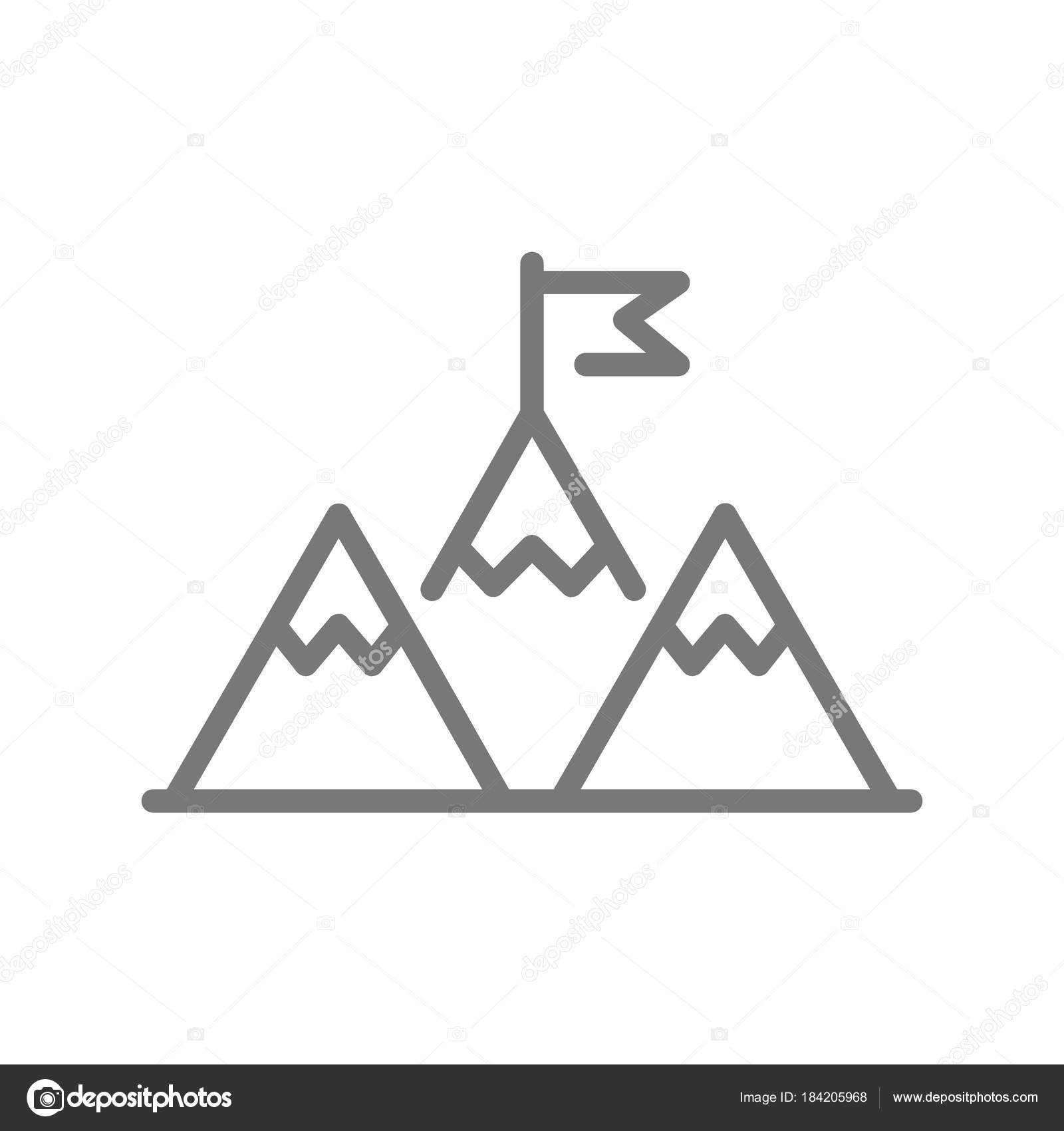 Simple mountain peak with flag or leadership line icon  Symbol and