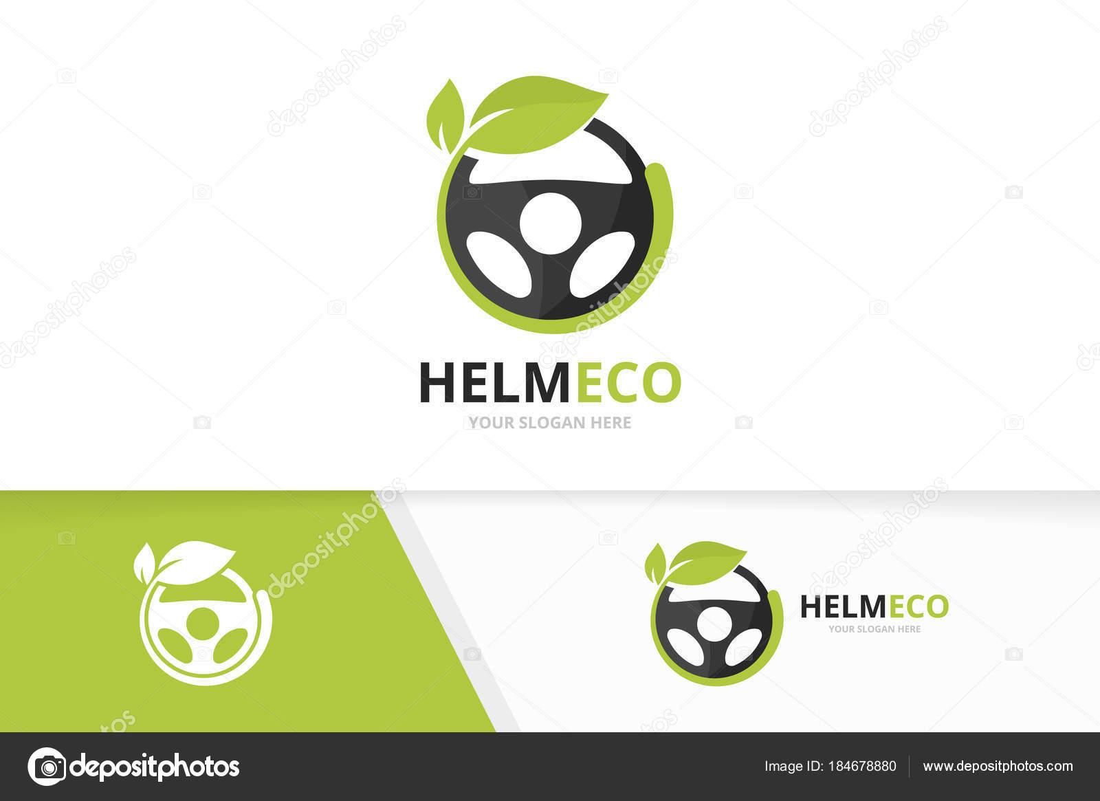 Vektor Auto Helm und Blatt Logo Kombination. Lenkrad und Eco-Symbol ...