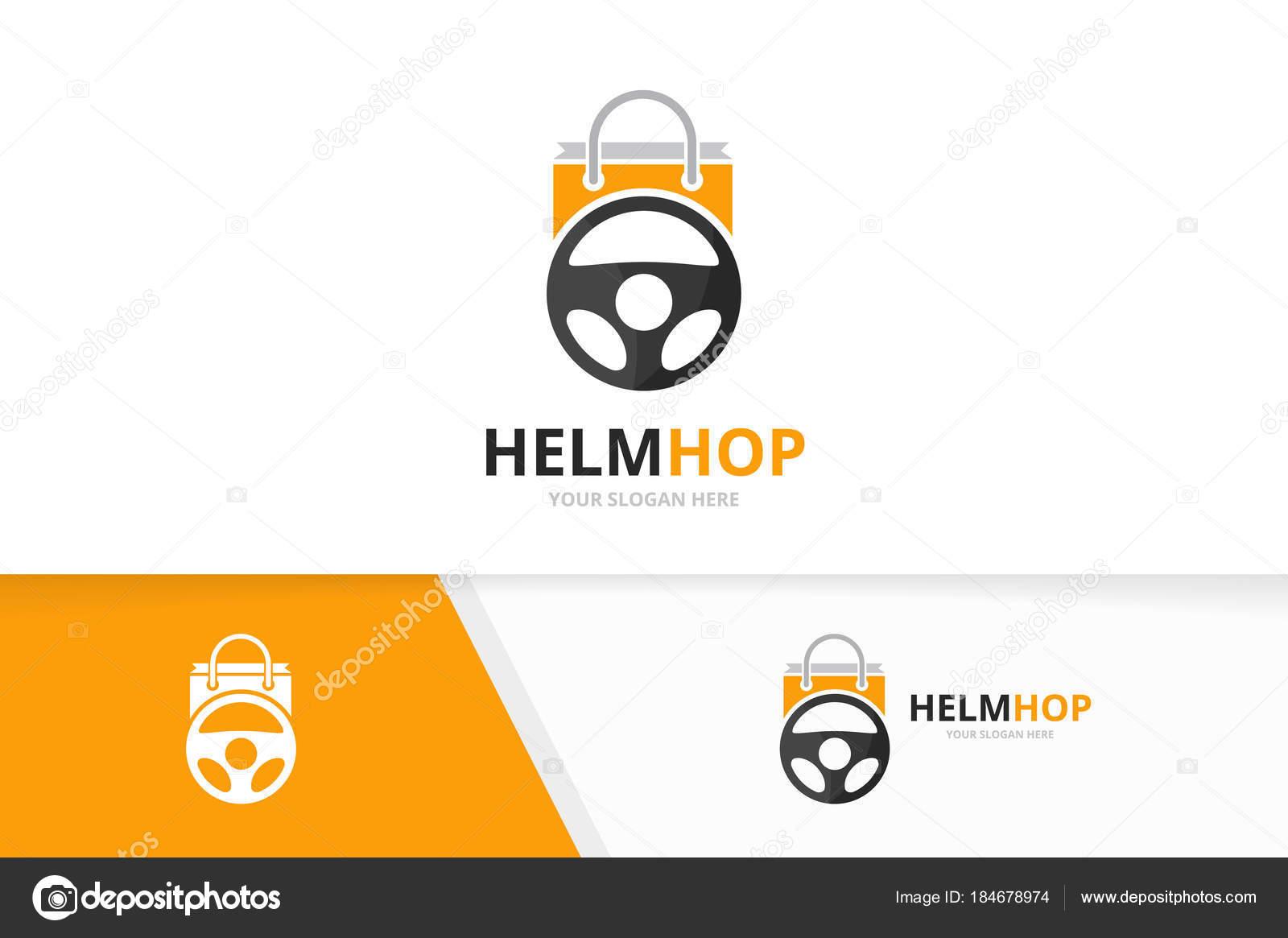 Vector auto timón y tienda insignia combinación. Volante y venta ...