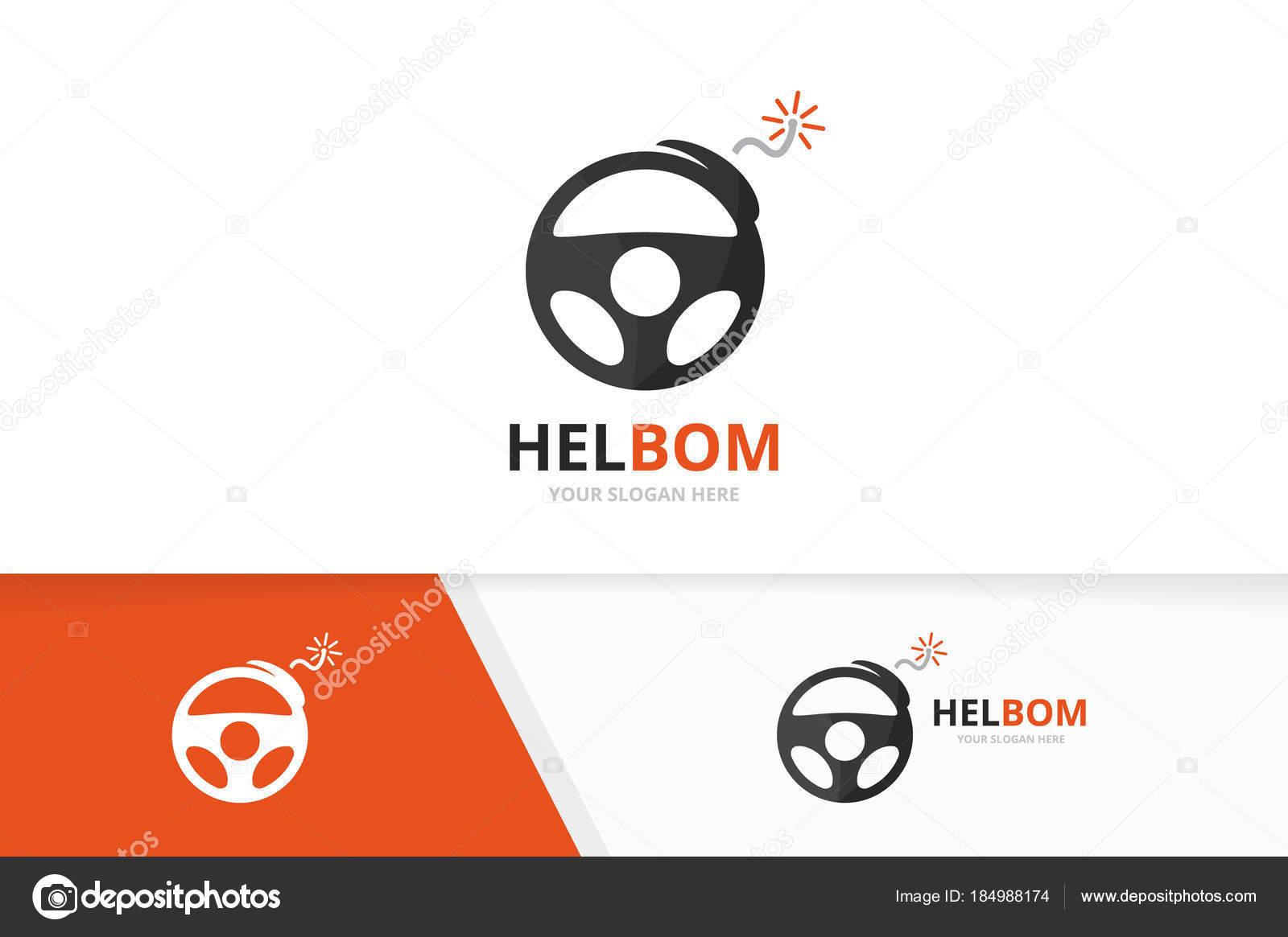 Vector auto bomba y timón logo combinación. Volante y detonar el ...