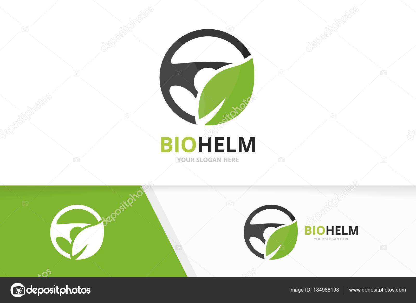 Vector auto timón y hoja logo combinación. Volante y eco símbolo o ...