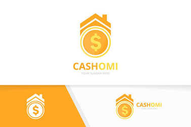 Vector coin and real estate logo combination. Money and house symbol or icon. Unique cash and rent logotype design template.
