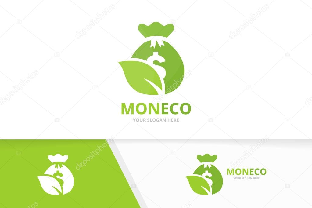 Vector bag and leaf logo combination. Sack and eco symbol or icon. Unique money and organic logotype design template.