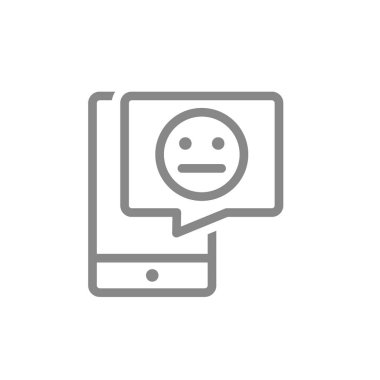 Smartphone with neutral face in speech bubble line icon. Client unsatisfaction, not happy customer symbol