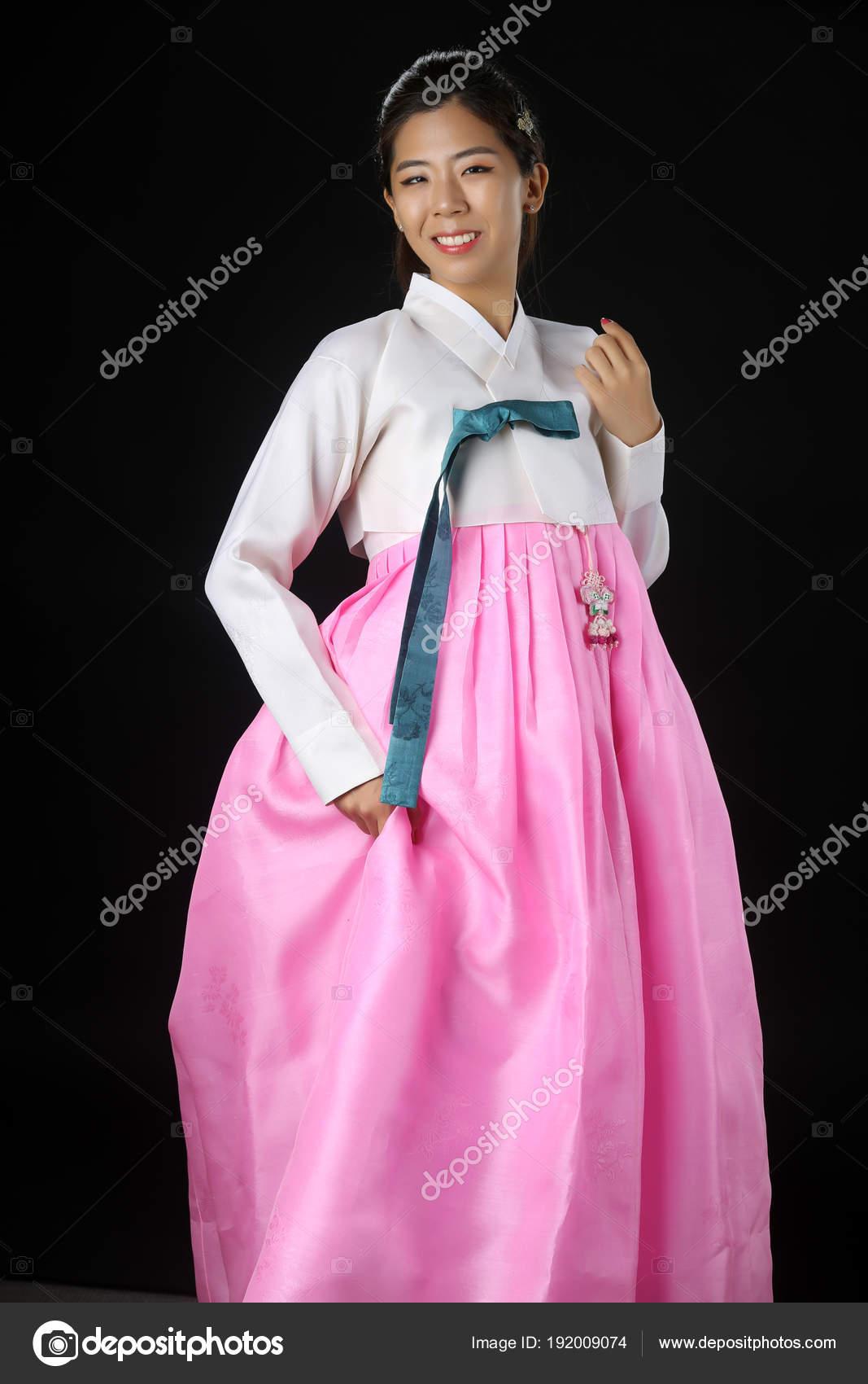 Schöne Frau Asiatische Mädchen Hanbok Kleid Korea Frau In