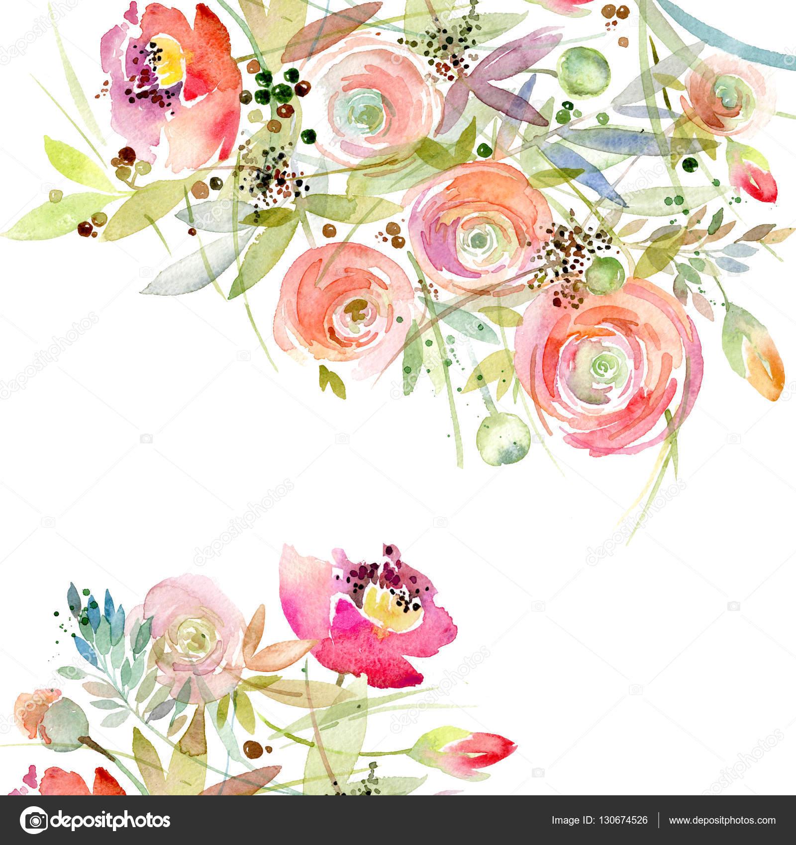 Watercolor Flower Background. Vintage Flower. Greeting