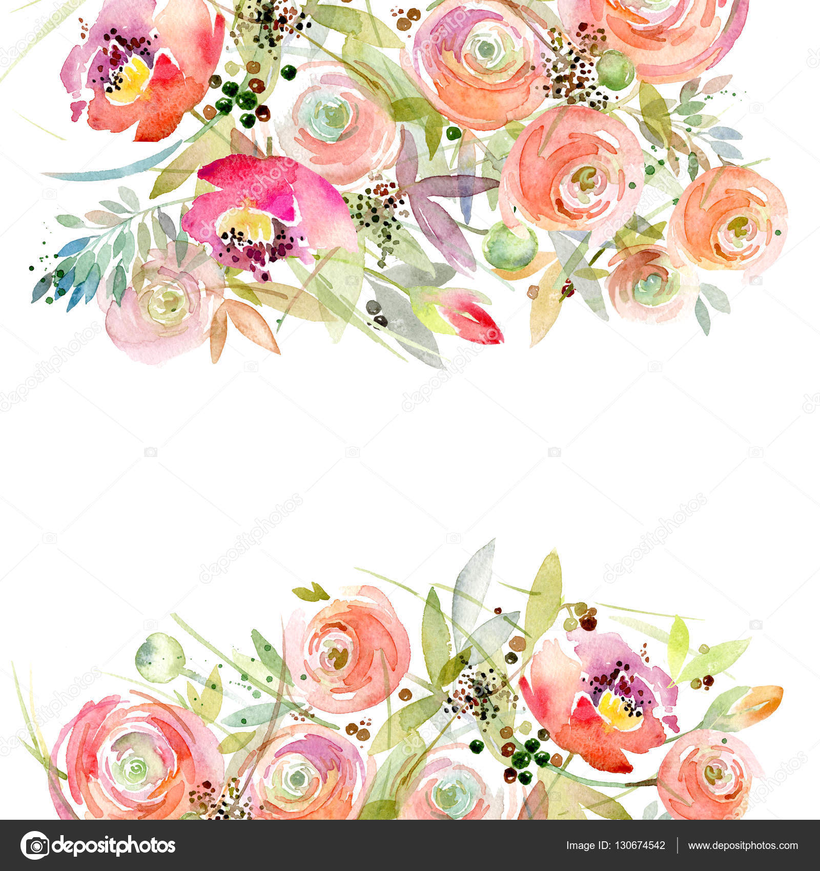Watercolor Flower Background. Vintage Flower. Greeting