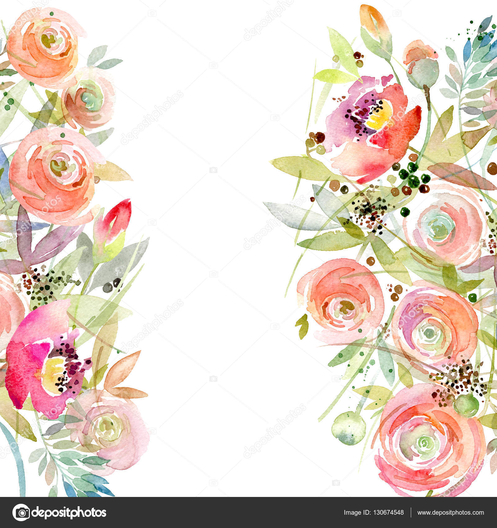 Watercolor Flower Background Vintage Flower Greeting