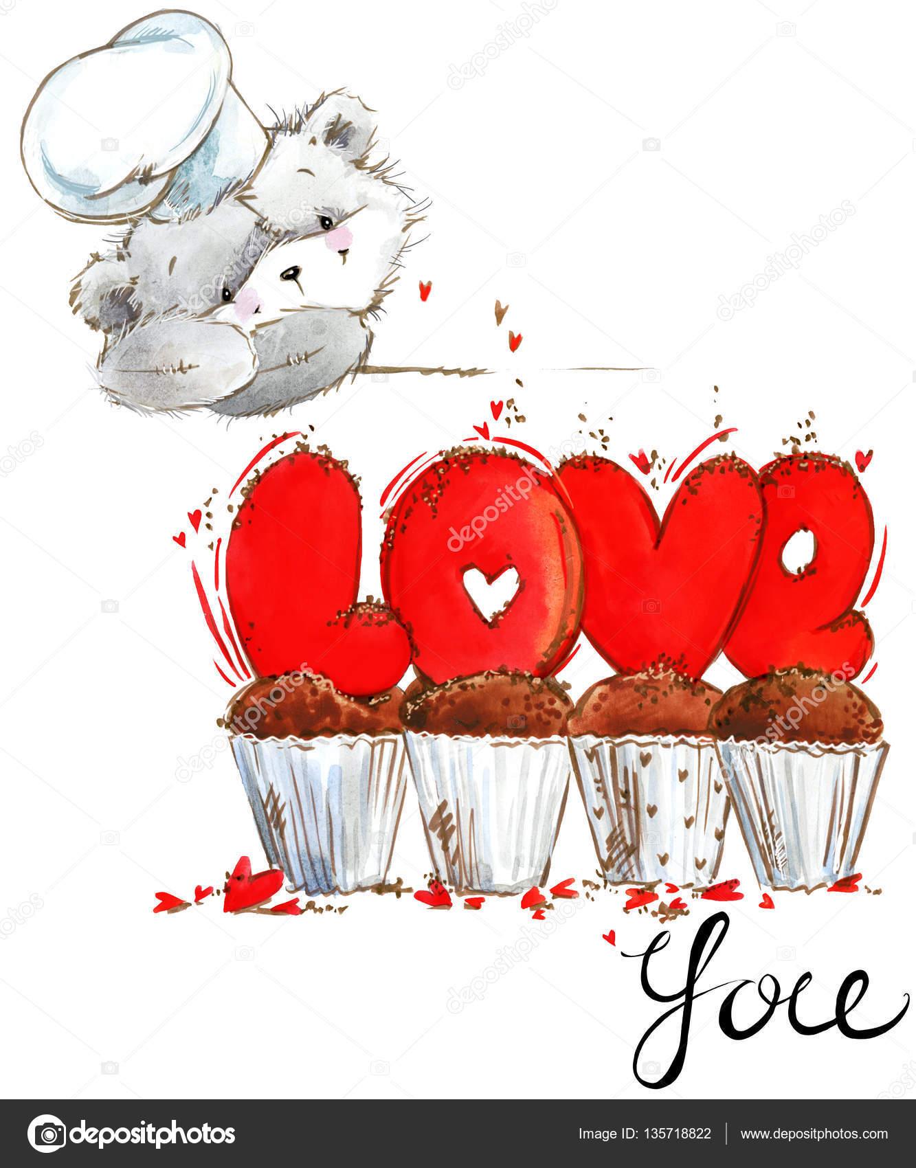 Fofo Urso De Pelúcia Amor Que Você Cartão Dia Dos