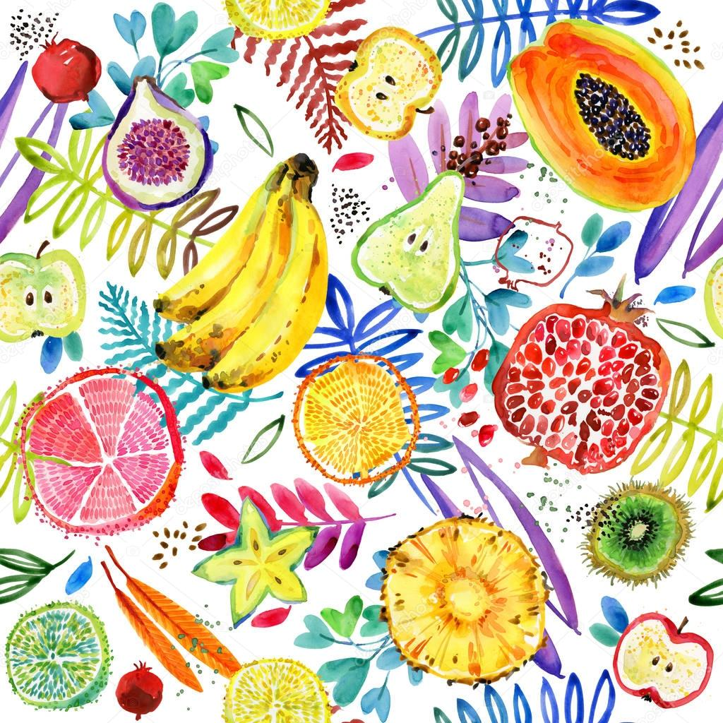 Seamless pattern with tropical garden fruit. watercolor jungle nature plant background.