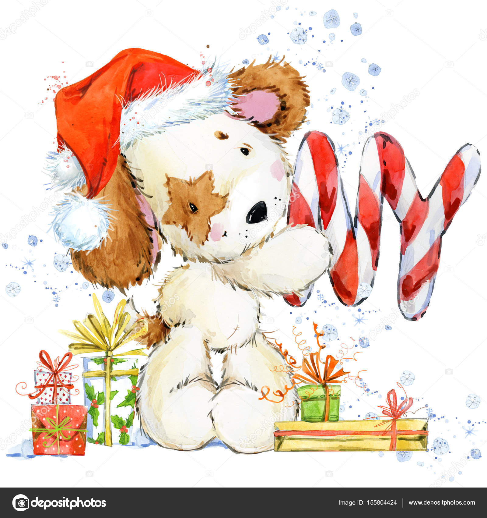 Cute Cartoon Puppy Watercolor Illustration Background For Christmas