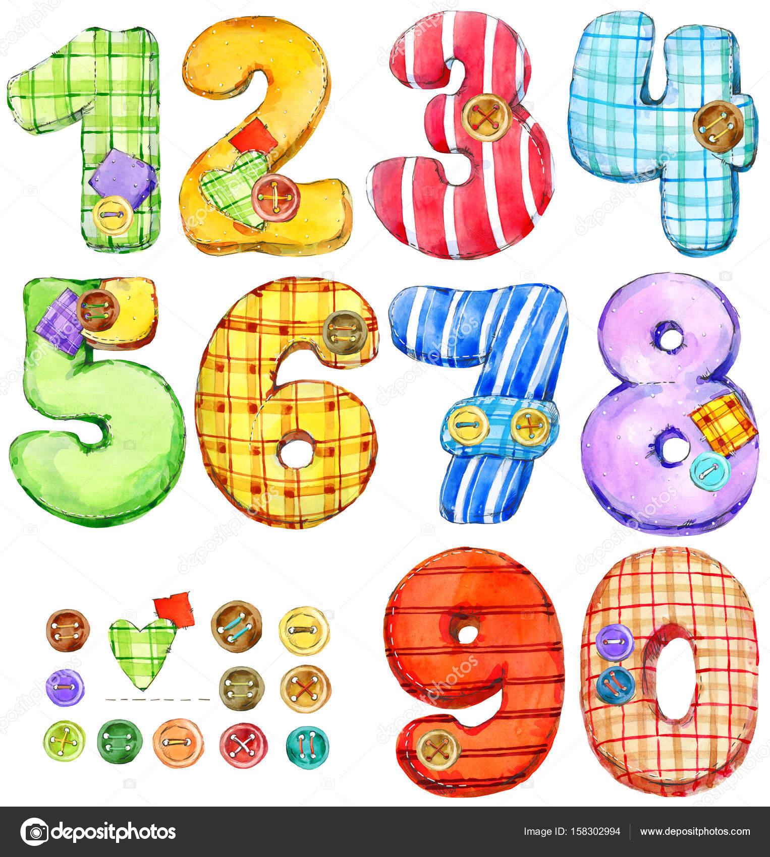 Conjunto De Numeros De Colores Ilustracion Acuarela De Digitos