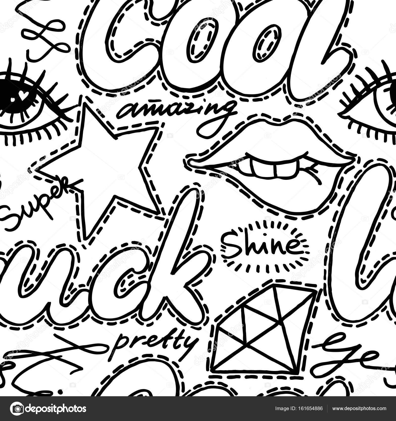 Mode Abzeichen Nahtlose Muster Stockfoto Dobryninaart 161654886