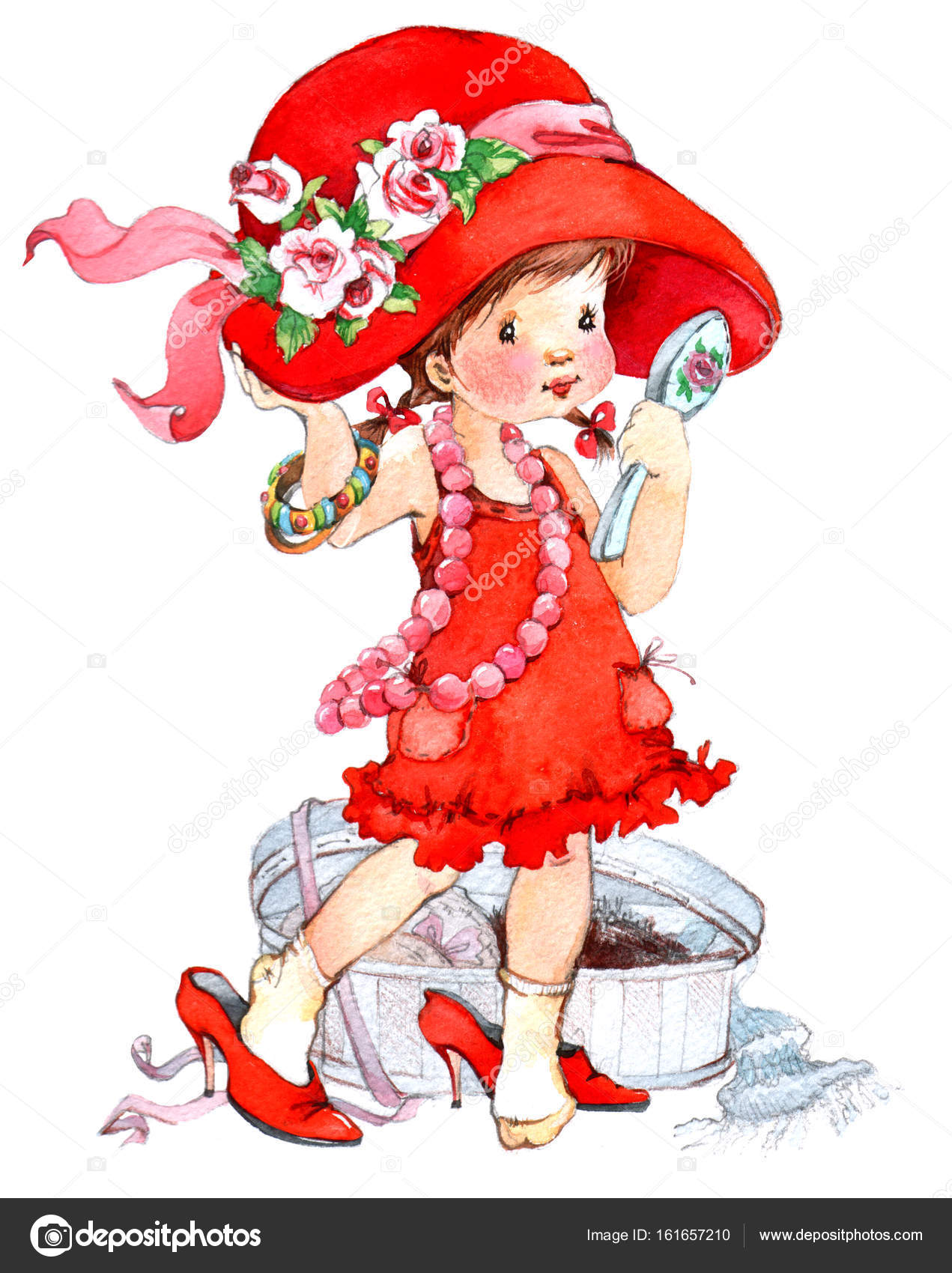 赤いドレスの女のかわいい赤ちゃん \u2014 ストック写真