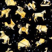Photo origami animals seamless pattern