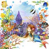 mermaid swimming on underwater
