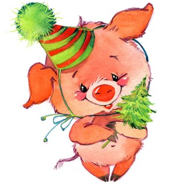 Funny pig and party