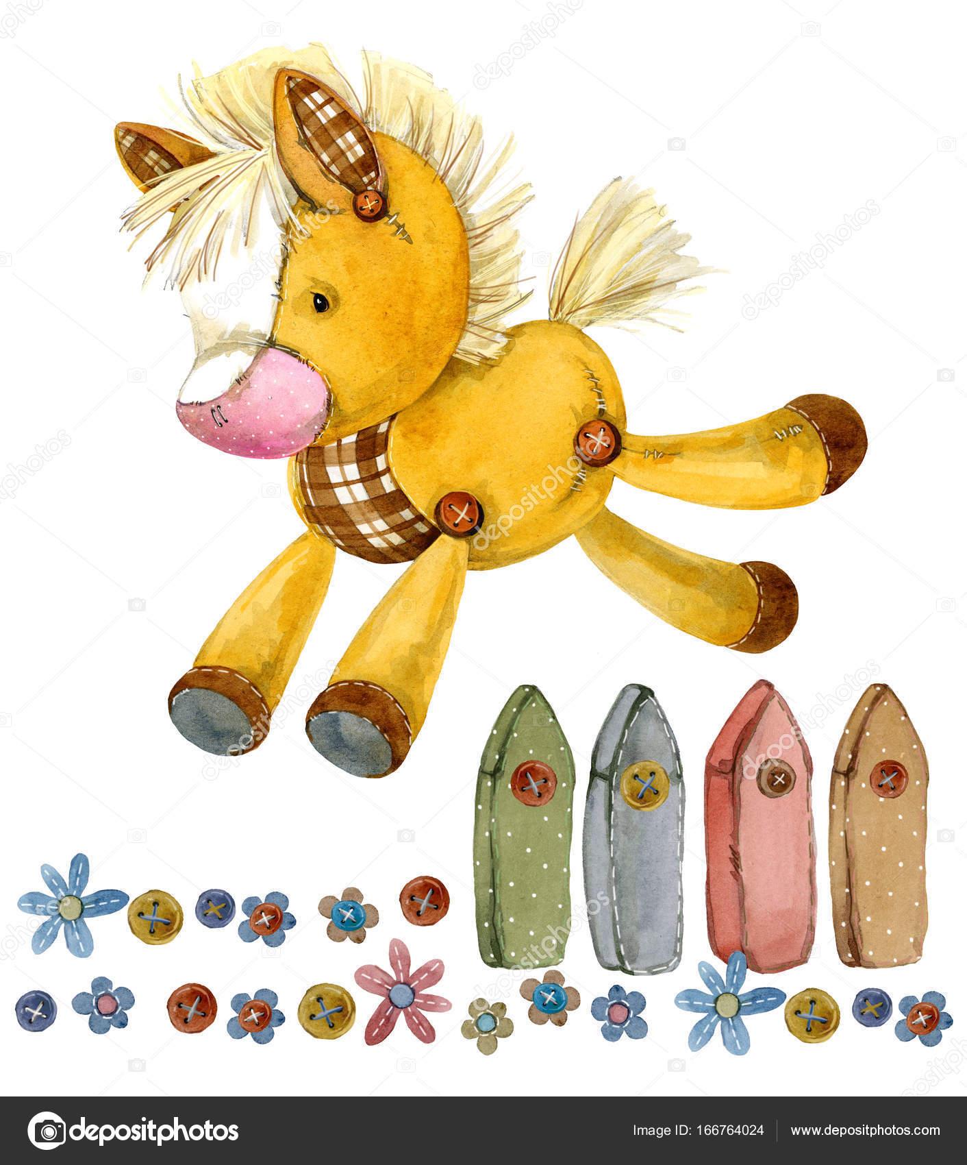 馬漫画ファーム動物かわいいペットの水彩イラスト ストック写真