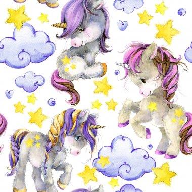cute unicorn watercolor illustration