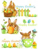 Photo Happy Easter. Easter elements Set of banners. cute bunny watercolor illustration
