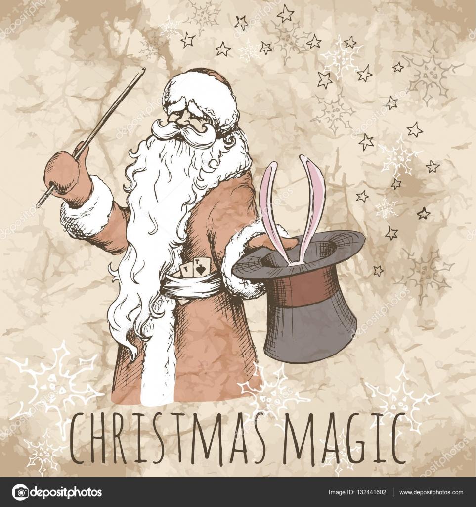 Christmas card with magic Santa — Stock Vector © Xarlyxa #132441602