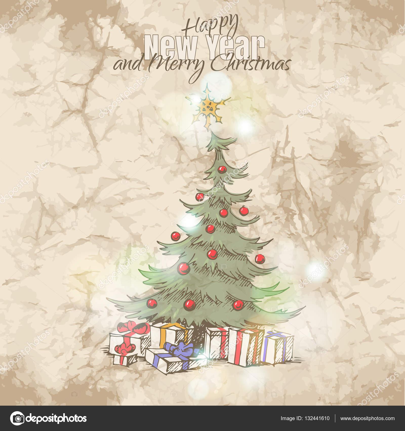 Kartki świąteczne z magic christmas tree — Grafika wektorowa