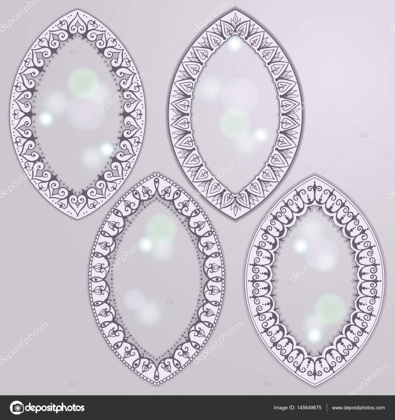 Skizze des ovalen Rahmen Henna Stil — Stockvektor © Xarlyxa #145649675