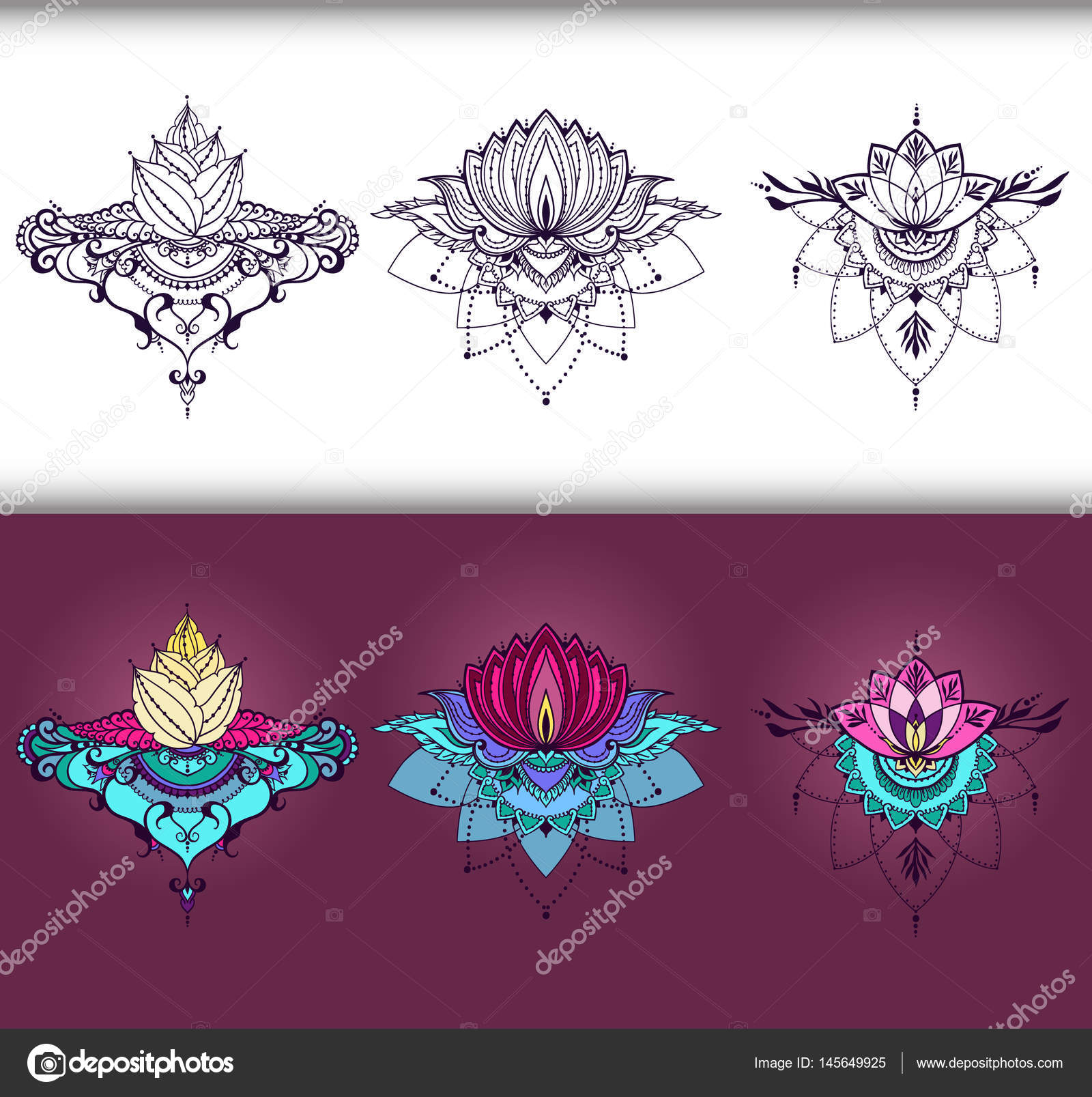 Freehand Drawing Of Lotus Flowers In East Style Stock Vector