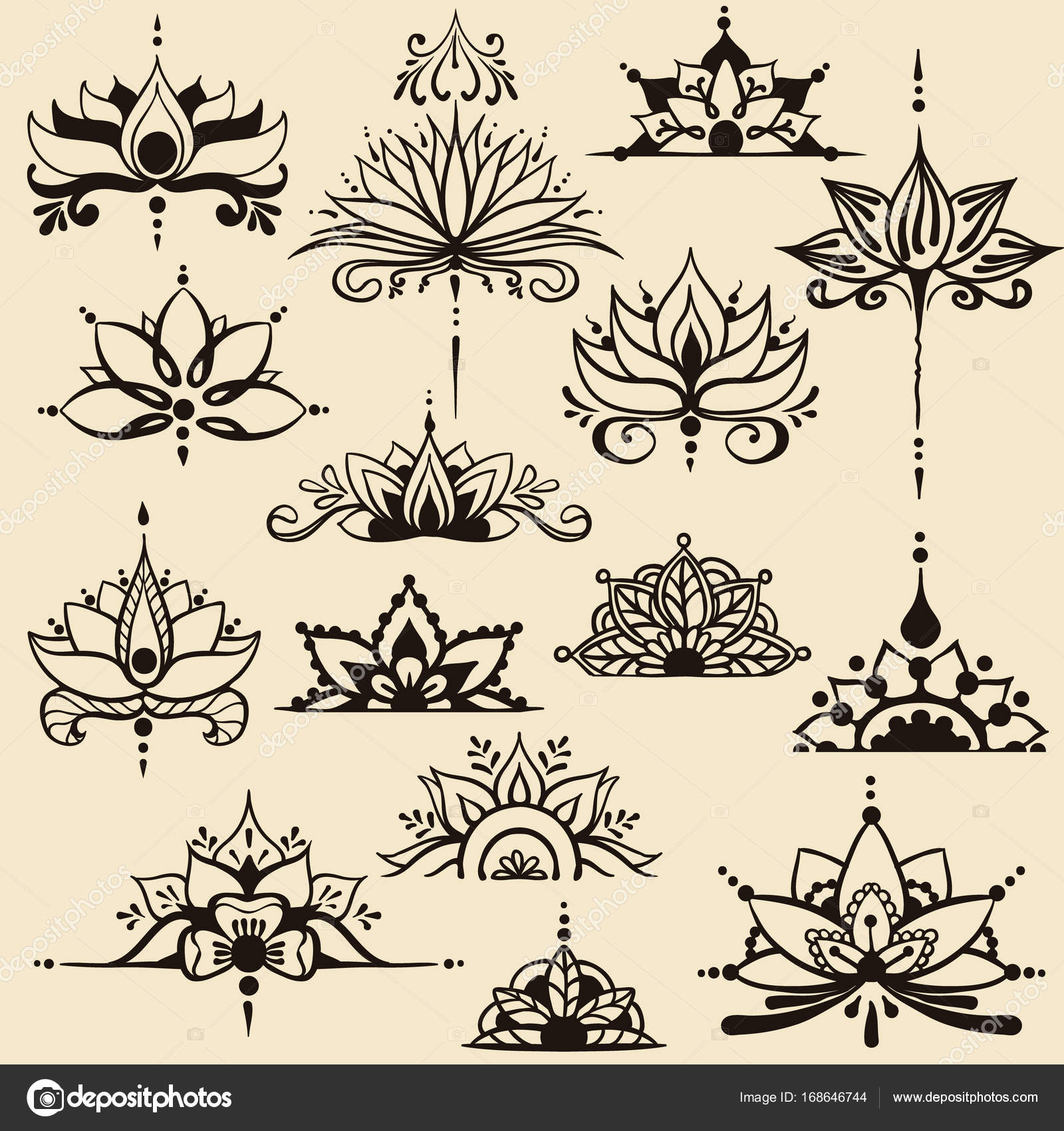 Fifteen Freehand Drawings Of Lotus Flowers In East Style Stock