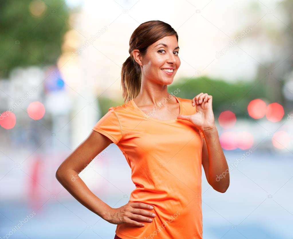 Happy Sport Woman In Proud Pose Stock Photo Kues 128824896