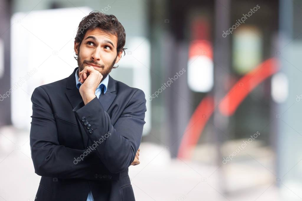 concentrated businessman thinking