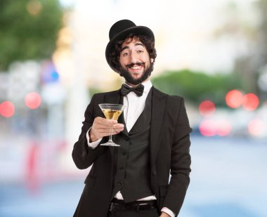 happy smoking man with alcoholic drink