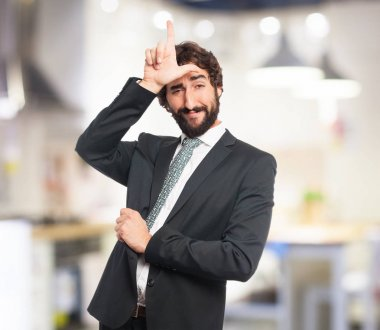 proud businessman with loser sign