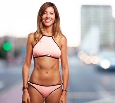 happy young woman in bikini