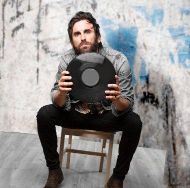 rock star with vinyl disc