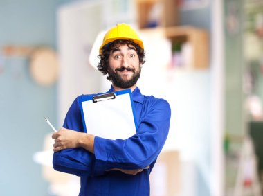 happy worker man with form