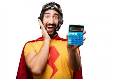 crazy super hero with calculator