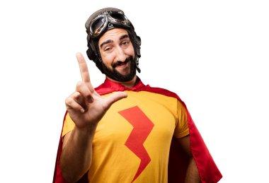 crazy super hero with loser sign