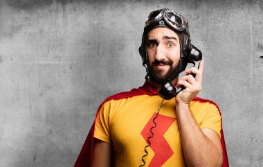 crazy super hero with phone