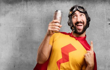 crazy super hero with beer