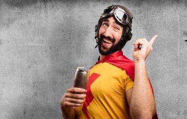 crazy super hero with beer
