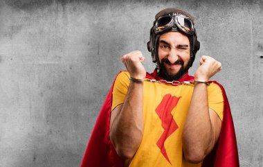 crazy super hero with handcuffs