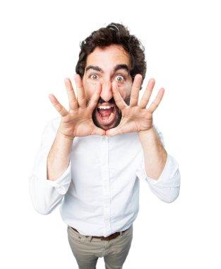 man shouting with disagree expression