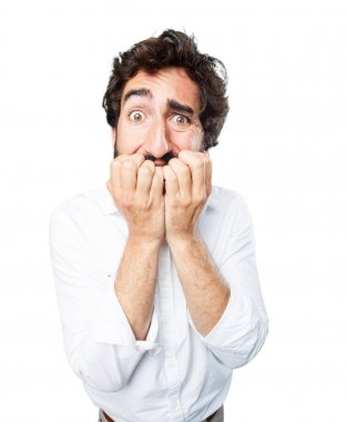 funny man scared in worried pose