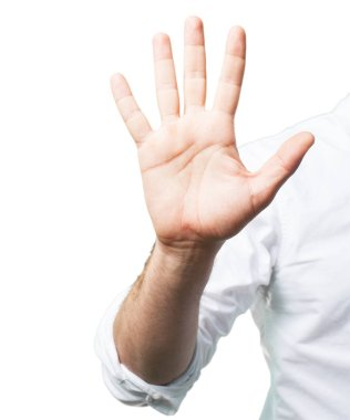 Young man hand with number five