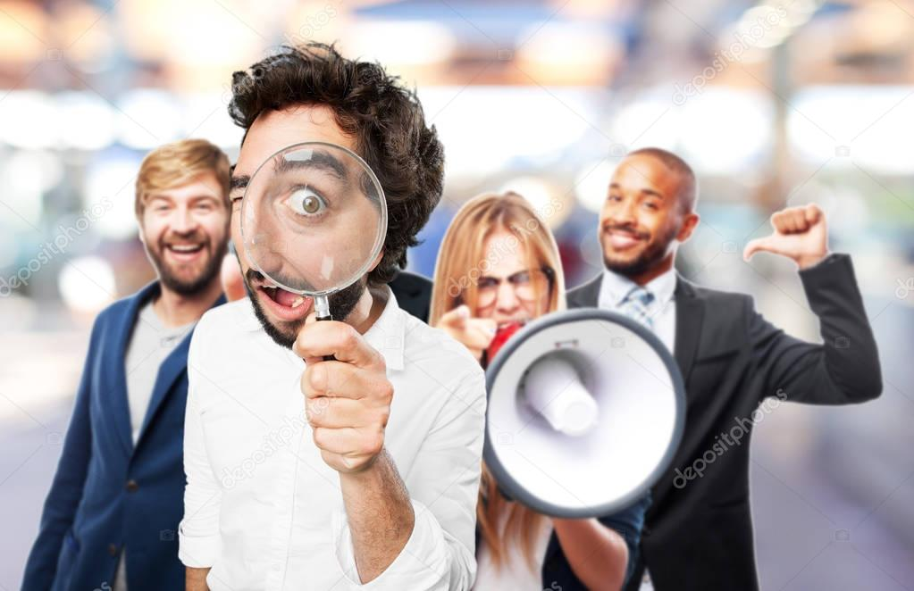 man with magnifier and surprise expression